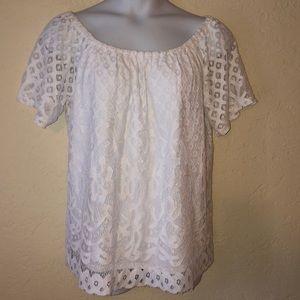 RAFAELLA white lace top- 2X - NEW!